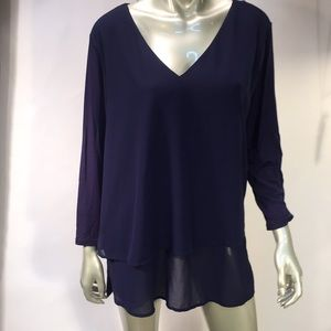 Michael Kors Navy Blue Layered Tunic Top